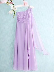 Floor-length Chiffon Junior Bridesmaid Dress Sheath / Column One Shoulder with Beading / Side Draping / Ruching