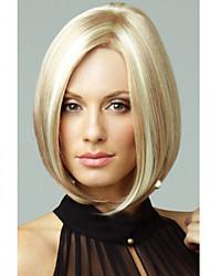 vrouwen exquise halflang sluik bruin met blonde pruik