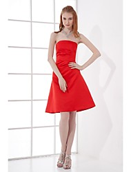 Lanting Bride Knee-length Satin Bridesmaid Dress A-line Strapless with Side Draping