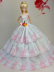 Poupée Barbie - Blanc / Rose - Soirée & Cérémonie - Robes - en Organza / Dentelle