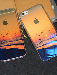 Beach Seaside Sunrise Seagull Semitransparent Glitter Soft Back Case Cover for iPhone 6s Plus /iPhone 6 Plus