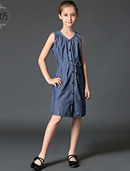 Girl's Blue Dress Cotton / Spandex Summer / Spring / Fall