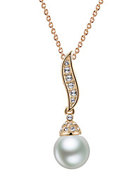 HKTC Imitation Pearl Bead Pendants Necklaces 18k Rose Gold Plated Fashion Vintage Crystal Jewelry