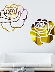 Modern Elegant Rose Flower Mirror Style Removable Decal Vinyl Wall Sticker Home Decor