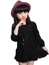 Girl's Cotton Spring / Fall Pure Color Lace Long Sleeve  Dress