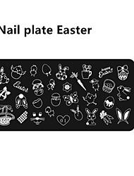 1pcs né jolie nail art modèle de marquage d'image plaque lapin de Pâques