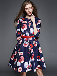 Women's  New Style The Big Pendulum Printing Three Quarter Sleeve Dresses