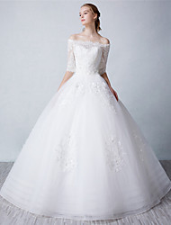 Ball Gown Wedding Dress - Ivory Floor-length Bateau Tulle