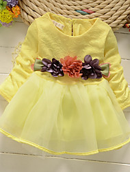 Girl's Pink / Yellow / Beige Dress,Floral Polyester / Spandex Spring / Fall