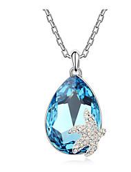 austria cristal de los peces de mar gota colgante de collar, joyería fina