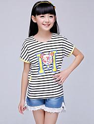Katoen-Zomer-Girl's-T-shirt-Roze / Geel