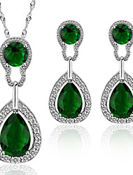 Luxury Crystal Drop Jewelry Set For Women Necklace With Earrings