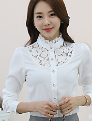Women's Stand Collar Wild Hook Cut Out Lace Stitching Chiffon Shirt