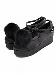 Women's Shoes Suede Flat Heel Creepers / Ballerina / Pointed Toe Flats Outdoor / Casual Black / White
