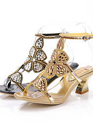 Women's Shoes Leather Chunky Heel Heels Sandals Party & Evening / Dress / Casual Black / Gold