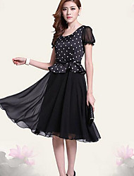 Women's Party / Cocktail / Casual / Day Polka Dot Plus Size / Swing Dress , Round Neck Knee-length Polyester