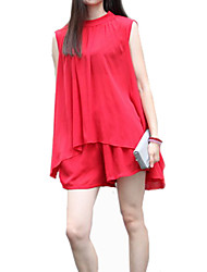 Women's Beach Dress,Solid Knee-length Sleeveless Red Polyester Summer