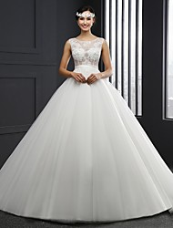 A-line Wedding Dress Chapel Train Jewel Lace / Tulle with Sash / Ribbon
