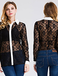 Women's Sexy Casual / Beach / Holiday Long Sleeve Lace Shirt