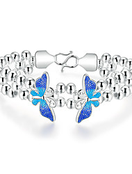Lureme® Elegant Style Silver Plated Double Butterfly Multilayer Beads Chain Bracelets for Women (blue)