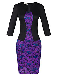 Women's Sexy / Work Floral Sheath Dress , Round Neck Knee-length Polyester