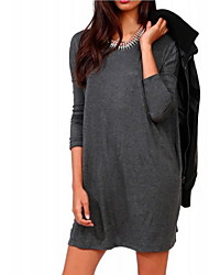 Women's Club / Casual / Day Solid Loose Dress , Round Neck Above Knee Cotton Dress