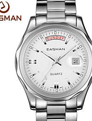 EASMAN Men Watch White Date & Day Fashion Waterproof Business Quartz Watch For Man Wristwatches