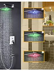 Robinet de douche - Contemporain - LED / Thermostatique / Douche pluie / Douchette inclue - Laiton ( Chromé )