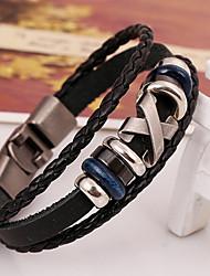 Bohemian Stylish Alloy X Clasp Leather Bracelets 1pc