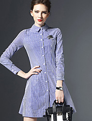 Women's Party/Cocktail Sexy / Street chic Sheath Dress,Striped Shirt Collar Above Knee Long Sleeve Blue / Black Polyester Spring
