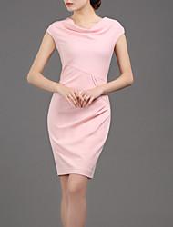 LIFVER® Women's Round Neck Sleeveless Cotten Bodycon Dress(pink) - XZ52035