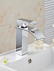 Modern Waterfall Spout Basin Faucet Single Handle Mixer Tap Deck Mounted