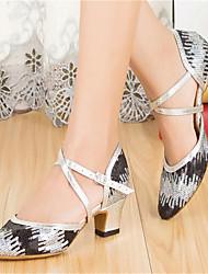 Customizable Women's Dance Shoes Latin / Modern / Salsa / Samba Paillette Customized Heel Black / Blue