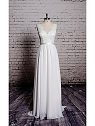 Sheath/Column Wedding Dress-Floor-length V-neck Chiffon / Satin