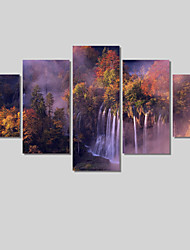 (No Frame)5 Piece Waterfall Scenery Modern Home Decor Canvas Art Picture Print Painting On Canvas Painting On The Wall