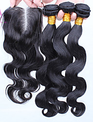 Mongolian Virgin Hair With Closure 3PCS Mongolian Body Wave Hair Bundles With Lace Closure Body Wave Hair With Closure