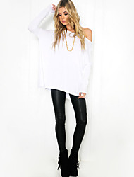 Women's Solid White / Black T-shirt , One Shoulder Long Sleeve