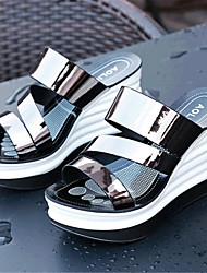 Women's Shoes Leatherette Wedge Heel Wedges / Slippers Slippers Casual Red / Silver / Gray