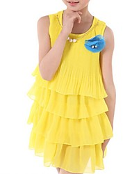 Girl's Blue / Red / White / Yellow Dress,Ruffle Cotton Summer / Spring