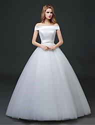 Ball Gown Wedding Dress - White Floor-length Off-the-shoulder Satin