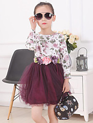 The Spring And Autumn Period And The Type Of girl Flowers Printing Net Yarn Splicing Dress