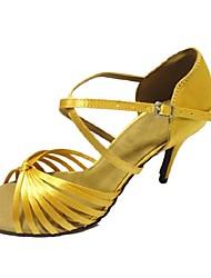 Chaussures de danse ( Jaune ) - Personnalisables - Talon Personnalisé - Satin - Latine / Salsa / Samba