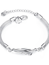 Lureme® Simple Feather Silver Plated Snake Chain Bracelets for Women