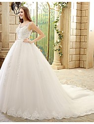 Princess Wedding Dress-Chapel Train Scoop Tulle