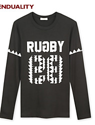 Trenduality® Hombre Escote Redondo Manga Larga Camiseta Negro - 43267