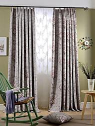 Deux Panneaux Rustique Floral / Botanique Bleu / Rose Chambre à coucher Polyester Rideaux occultants rideaux