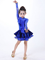 Latin Dance Dresses Children's Performance Lace Lace 1 Piece Blue