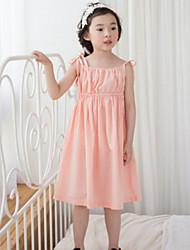 Girl's Pink / White / Gray Dress,Solid Linen Summer