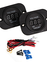 Carchet 2Pcs Dc 6-30V Car Motorcycle Led Digital Display Voltmeter Meter