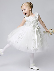 A-line Knee-length Flower Girl Dress - Tulle Jewel with Bow(s) Flower(s) Sash / Ribbon